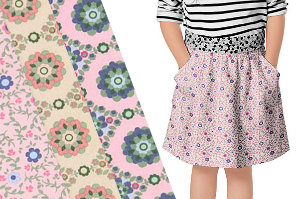 Cotton fabrics with floral motifs