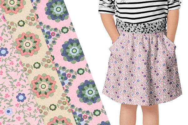 Telas de algodón con patrones florales