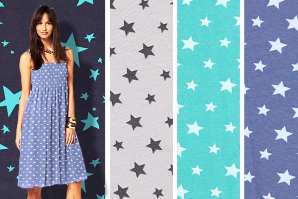 Tecidos de malha Jersey com estrelas