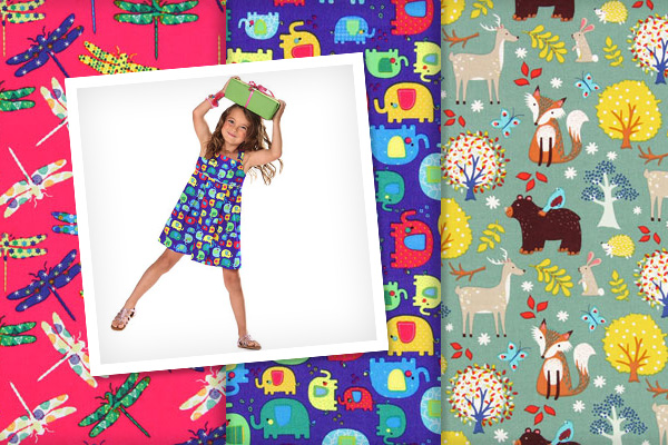 Children's fabrics with animal motifs