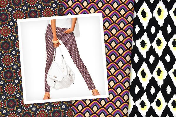 Tela de algodón stretch con patrón retro