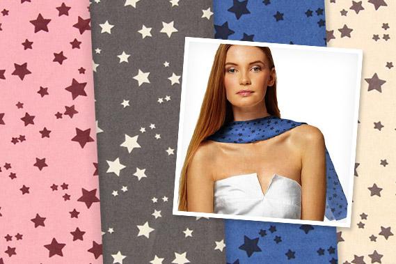 Georgette con estampado de estrellas