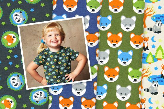 tessuti jersey con fantasia di animali della foresta