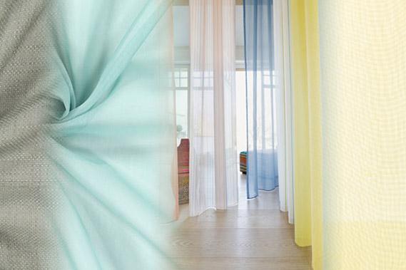 Tecidos de decoração a toda a altura da parede com fita de chumbo na bainha