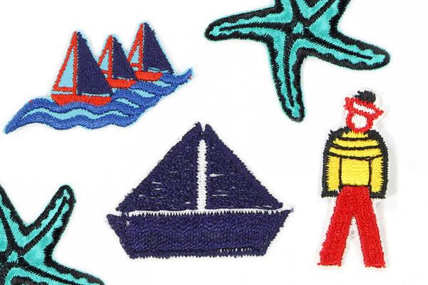 Applikationen mit maritimen Motiven