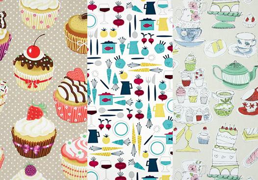 Dekorační látky s kuchyňskými motivy