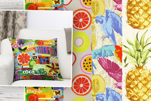 Furnishing fabrics with fruit motifs