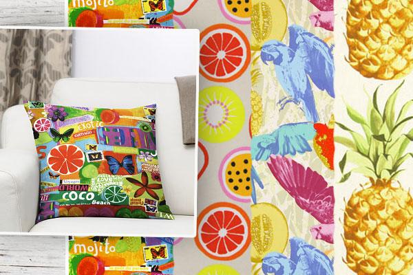Tecidos para decoração com desenhos de frutos