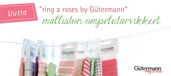 Gütermann-mallistoon ring a roses sopivia nappeja ja nauhoja