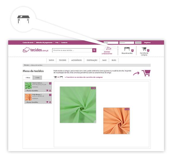 Mesa de tecidos virtual: Exclusiva da tecidos.com.pt