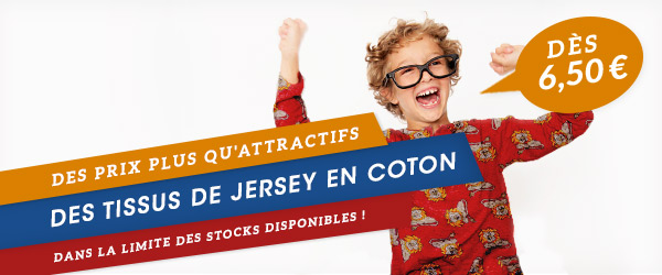 Des tissus de jersey en coton colorés pour 6,50 € - seulement pendant une semaine !