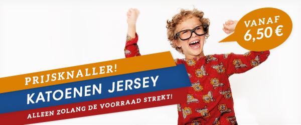 Bonte katoenen jerseystoffen voor € 6,50  - nog maar een week!