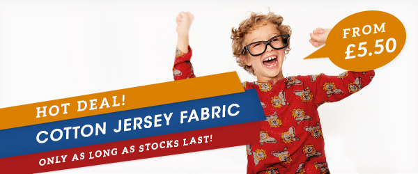 Colourful cotton jersey fabrics for £5.50 – just for one week!