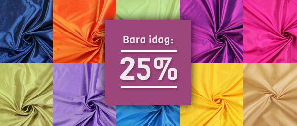 Bara idag: 25% Polyestertaft enfargät tyg.se
