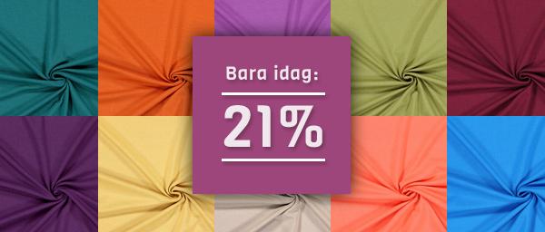 Bara idag: 21% Viskosjersey light tyg.se