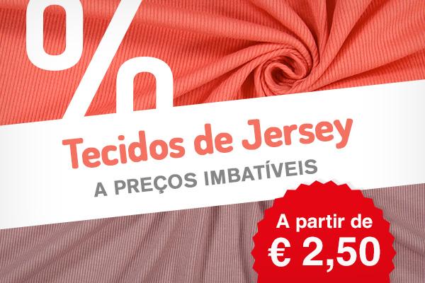 Mais de 250 tecidos de malha Jersey a preços reduzidos em várias cores e desenhos - agarre esta oportunidade!