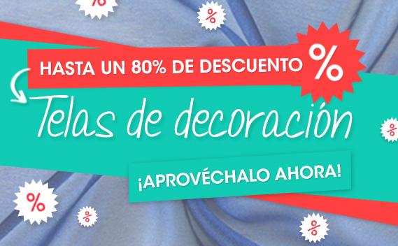 Hasta un 80% de descuento, telas decorativas en telas.es