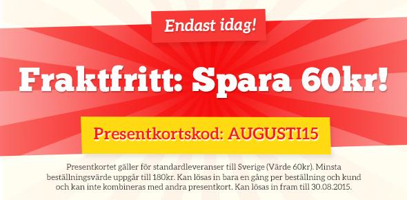 Fraktfritt-kampanj på tyg.se - spara fraktkostnad, men bara idag