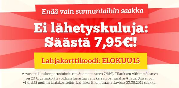Lähetyskulukampanja kankaita.comissa - säästä nyt lähetyskulut enää vain sunnuntaihin saakka