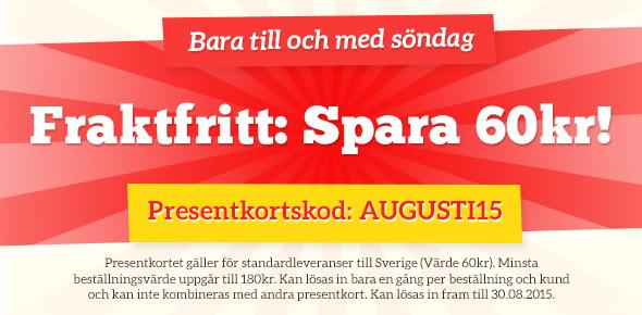 Fraktfritt-kampanj på tyg.se - spara fraktkostnad, men bara till på söndag
