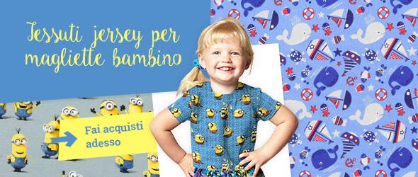 Tessuti jersey per magliette bambino, pigiamini e altri capi d'abbigliamento per bambini. Grande scelta di fantasie su tessuti.com