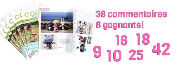 Gagnantes des 6 magazines « Passion Couture Créative »