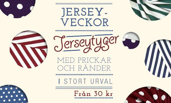 Jerseyveckor: Jerseytyger med prickar och ränder i stort urval