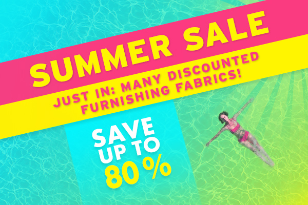 New in at myfabrics.co.uk: Discounted furnishing fabrics in the Summer Sale