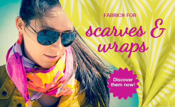 Discover a wide selection of gaily coloured scarves and wraps at myfabrics.co.uk