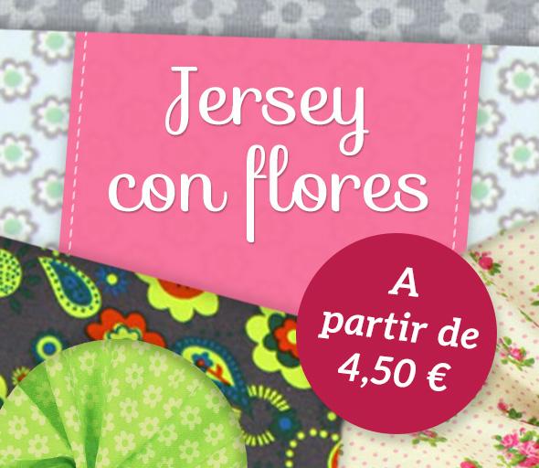 Preciosos diseños florales en calidad de jersey, por supuesto en telas.es