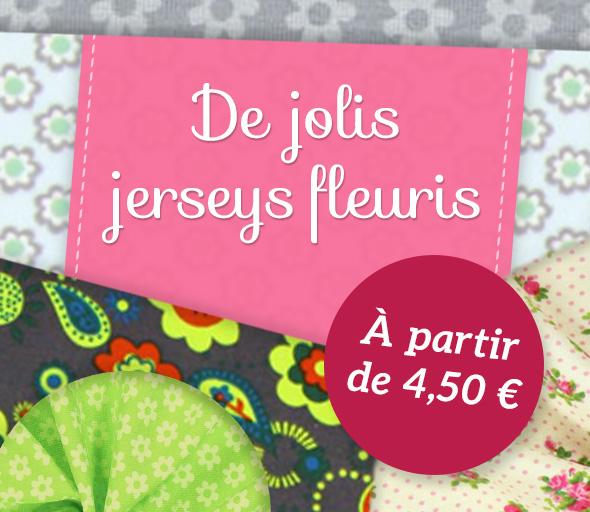 Des motifs favoris de fleurs dans une qualité de jersey bien sûr sur tissus.net