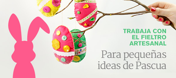 Día festivo en telas.es. Crea tus ideas de Pascua de nuestra colorida selección de fieltro artesanal