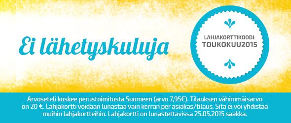 Säästökampanja toukokuussa - tilaa ilman lähetyskuluja kankaita.comista