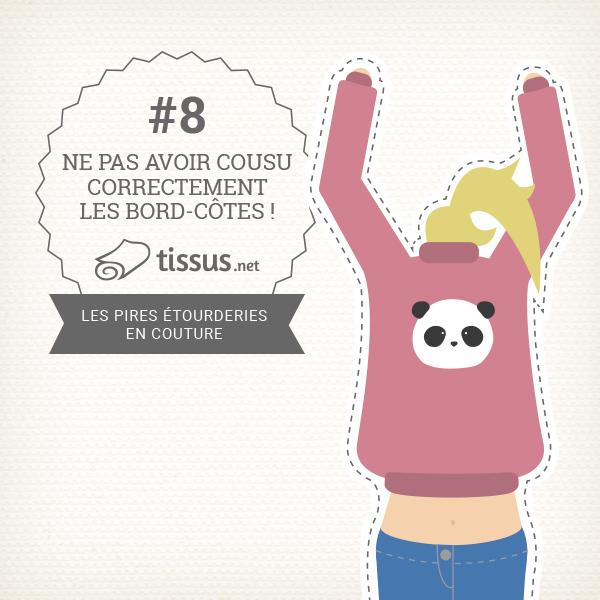 Les 10 ratages en couture : Ne pas avoir cousu correctement les bord-côtes – tissus.net vous donne des conseils pour les éviter