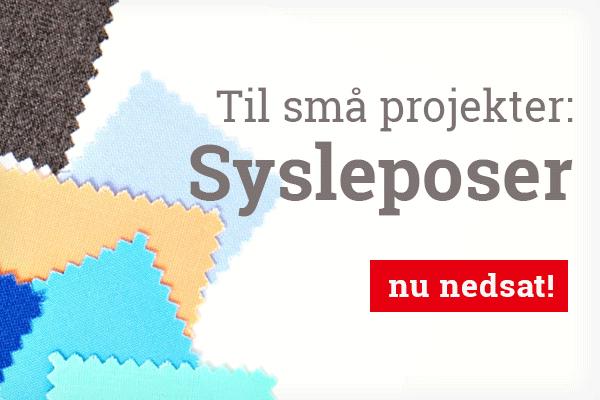 Til applikationer og små projekter: Sysleposer med stofstykker hos stofkiosken.dk