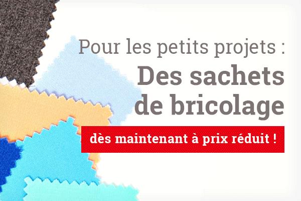 Pour les applications et les petits projets : Des sachets de bricolage avec des morceaux de tissu sur tissus.net