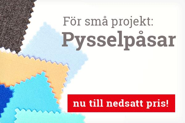För applikationer och små projekt: pysselpåsar med tygbitar på tyg.se