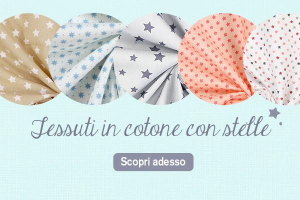 Una scelta enorme. Tessuti in cotone con fantasia di stelle su tessuti.com
