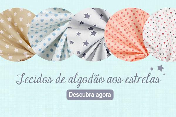 Que grande seleção - Tecidos de algodão com desenhos de estrelas na tecidos.com.pt