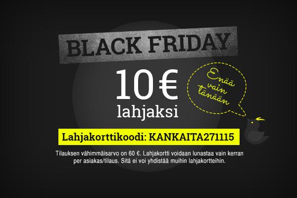 Selaa, shoppaa, säästä - 10 € alennus, mutta vain tänään mustana perjantaina 2015