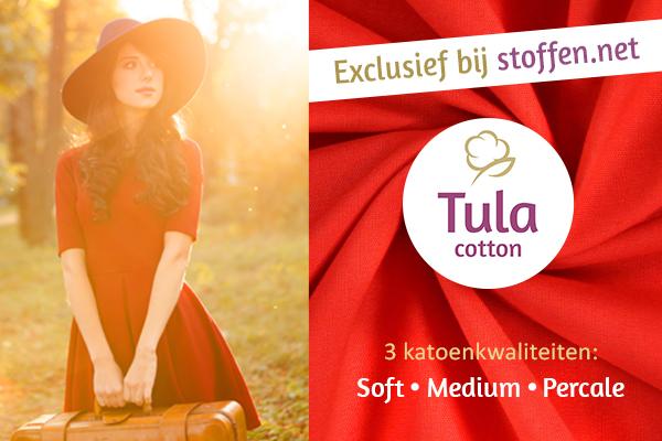Katoenen stoffen van Tula Cotton in veel kleuren bij stoffen.net