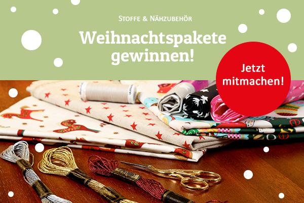 Zu gewinnen: Fünf Weihnachtspakete mit Stoffen und Stickzubehör
