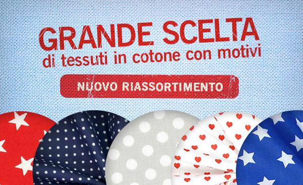 Nuovo riassortimento di: tessuti in cotone in tante fantasie e colori