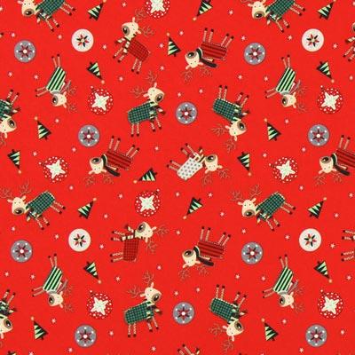 Cretonne Weihnachtsrentier - rot