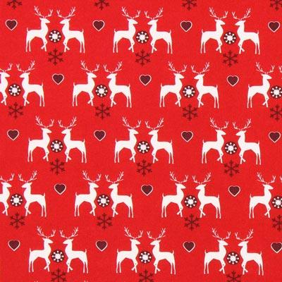 Cretona Amor por los renos – rojo