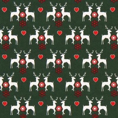 Cretona Amor por los renos – verde oscuro