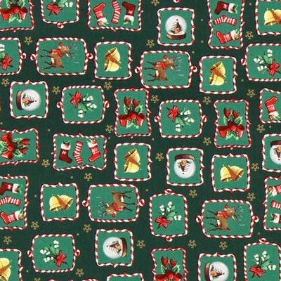 Cretonne Rudolph's Candy - dunkelgrün