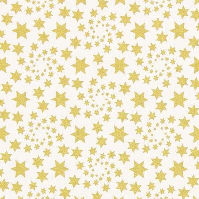 Cretona Estrella navideña dorada – blanco lana