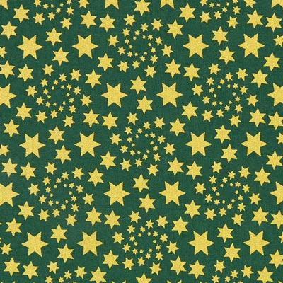 Cretonne Goldene Weihnachtssterne - dunkelgrün
