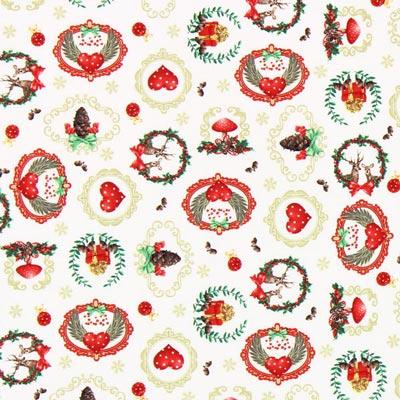 Cretonne es Weihnachtet sehr - wollweiss
